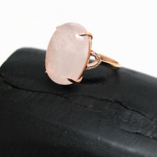 Anillo Gran Cuarzo Rosa Natural. Plata 1ª Ley .925 Chapado Oro Rosa 18K. Nuevo