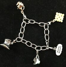 Disney Couture Alice in Wonderland Charm Bracelet w 5 removable charms