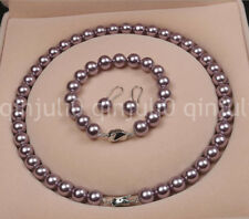 10mm brown sea shell pearl necklace earrings set 18inch