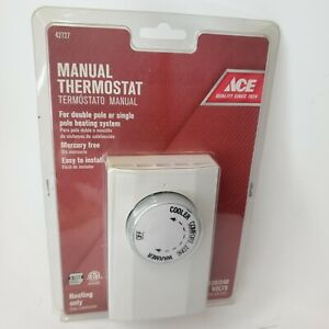 NEW Ace 42727 Manual Thermostat Double Single Pole Heating Only Mercury Free