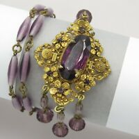 Vtg 1930s Art Deco Signed Czech Amethyst Glass Flower Dangle Pendant Necklace
