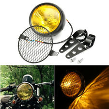 6.5'' Retro Motorcycle Headlight Grill Bracket Mount Amber For Harley Cafe Racer