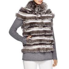 Tory Burch 6474 Womens Gray Rabbit/Fox Fur Lined Stripe Vest S BHFO