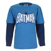 DC Comics - Official - Batman Retro Logo - Blue - Kids Long Sleeve T-Shirt - S,