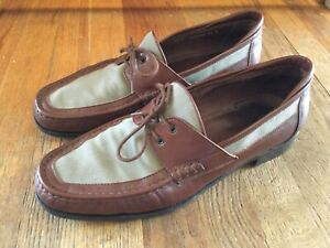Men's E.T. Wright Size 12D Leather & Canvas Loafers made in Italy