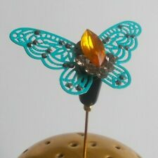 STUNNING RHINESTONE DECORATED METAL BUTTERFLY & GLASS BEAD HATPIN / HAT PIN