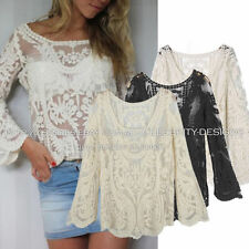 Lace Long Sleeve Floral Regular Size Tops for Women