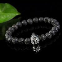 Fashion Black Lava Rock Stone Beaded Bracelet Charm Helmet Bracelet For Men Gift