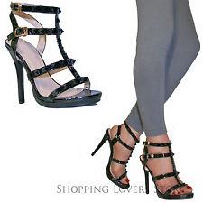 Scarpe donna sandali Tacchi Alti 12 Borchie Vernice Lucide Decollete COD. T92