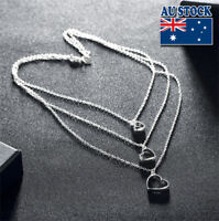Elegant 925 Sterling Silver Filled Three  Love Heart Chain Necklace Gift