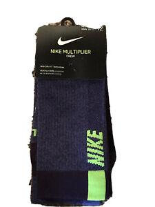 NIKE 2-Pack Multiplier Cushioned Crew Socks sz L Large (8-12) Grand Purple Volt