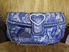 Betsey Johnson BH71405P Blue Metallic Python Clutch Shoulder Bag NWT