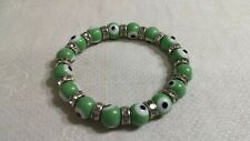 "ST Clear Crystal Rondelle Green Bullseye Glass Bead 2.5""DiameterStretch Bracelet"