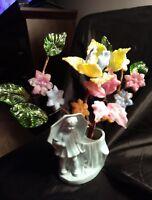 Vintage 1950s Morton Salt Girl Blue Planter With Glass and Plastic Flowers