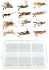 12 Piece Grasshopper Dry Fly Fishing Flies Collection + Free Fly Box