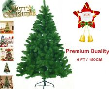 6FT New Artificial Christmas Tree Green With Metal Stand Xmas Office Decorations