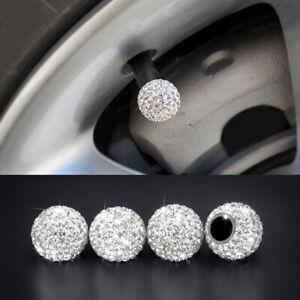 4x Bling Car Rhinestone Tire Valve Caps Diamond Shining Air Caps Accessories
