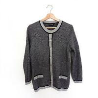 La Dame Womens Size M Grey Merino Wool Alpaca Blend Soft Cardigan Top