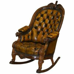 13 STAR AMERICAN FLAG & EAGLE 1830 HAND CARVED CHESTERFIELD ROCKING ARMCHAIR