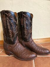 Men's 11 D LUCCHESE N 8357 Brown Small Quill Ostrich Western Cowboy Boots