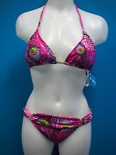 NWT CIA. MARTIMA Swimsuit Bikini 2pc Set Size M Triangle Top Peacock Pink M5.FF