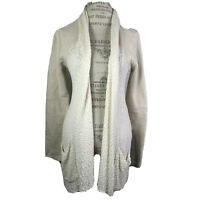 Lucky Brand Lucky Lotus Sweater Long Open Front  Cardigan Ivory Size M High Low