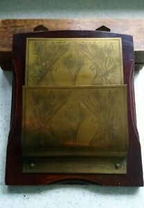 Edwardian Art Nouveau Engraved Brass & Wood Oak Wall Letter Rack / Holder