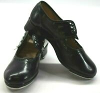 Capezio Teletone Girl's Size 2 Lace Up Rounded Toe Dance Tap Shoes Black
