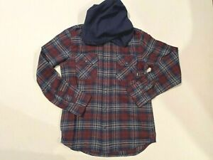 Vans New Parkway II Hooded Snap Button Down Shirt Youth Boy's Medium 10-12