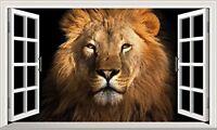 Wildlife Lion Jungle 3D Magic Window Wall Art Self Adhesive Poster V1*