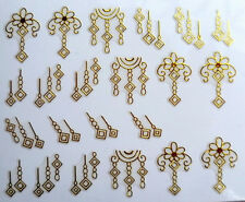 3D Nail Art Stickers Decal Gold Geometric Flowers Metallic Design