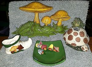 VINTAGE Hand Crafted Mushroom & Frog 3 pc Collection Lot~Dating Back to 70's