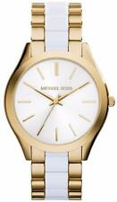 Michael Kors MK4295 Womens Slim Runway White Acetate Gold tone Bracelet Watch