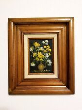 Vintage Wood Framed Original Still Life Flowers In Vase Painting on Satan Silk