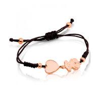 Hot Women Titanium Steel Cute Bear Heart Rope Bangle Charm Bracelet Jewelry