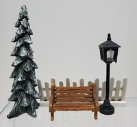 Lemax O'Well ? Christmas Village Decorations - Bench Snowy Tree Fence Light Post