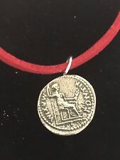 "Denarius Of Tiberius Coin WC60 English Pewter On a 18"" Red Cord Necklace"