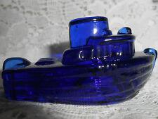 Blue Vaseline glass Teddy Tugboat boat / toy ship sea ocean uranium glows cobalt