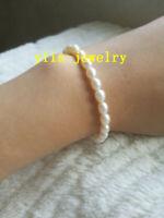 Charming AAA+ 5-6mm white natural akoya white  Pearl Bracelet 7.5-8' 14k Clasp
