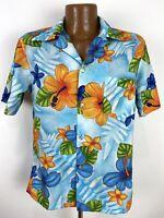 Vintage 70s Floral Hawaiian Shirt Men's Medium Blue Orange Hibiscus Aloha Pomare