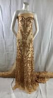 """MATT GOLD STRETCH MESH W/GOLD SEQUIN EMBROIDERY LACE FABRIC 52"""" WIDE 1 YARD"""