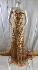 "MATT GOLD STRETCH MESH W/GOLD SEQUIN EMBROIDERY LACE FABRIC 52"" WIDE 1 YARD"