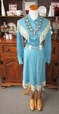 1940's-50's Ranch Maid Turquoise Blouse & Skirt White Leather Fringe MOP Buttons