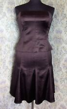 Two piece outfit suit by COAST Skirt & top Size 10 - 12 Brown satin sheen