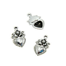 30pcs/lot Heart with Flowers Charms Tibetan silver Healing Charm Pendant 18x11mm
