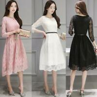 Womens 3/4 Sleeve Crew-neck Lace Dress Casual Loose Party Mid-long Dresses S-3XL