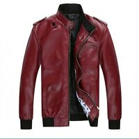 New Fashion Men's PU Leather Coat Trench Slim Casual Motorcycle Jackets Outwear