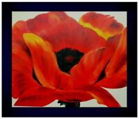 Contemporary Framed, Red Poppy Repro, Hand Painted Oil Painting, 20x24in