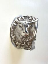 Nice!! Men's Antique Cowboy Cow Heavy Solid Sterling Silver 925 Spoon Ring