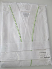 FRETTE XXL Pique Kimono White w/ Green Piping Bathrobe, Free Shipping!